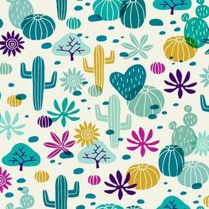 Llama cactus desert turquoise/purple