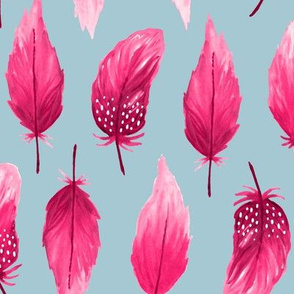 Watercolor feathers pink on gray