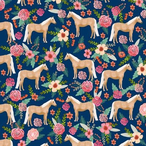Palomino Horse fabric florals horses navy