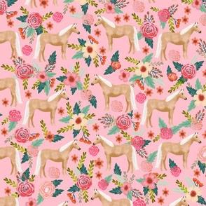 Palomino Horse fabric florals horses pink