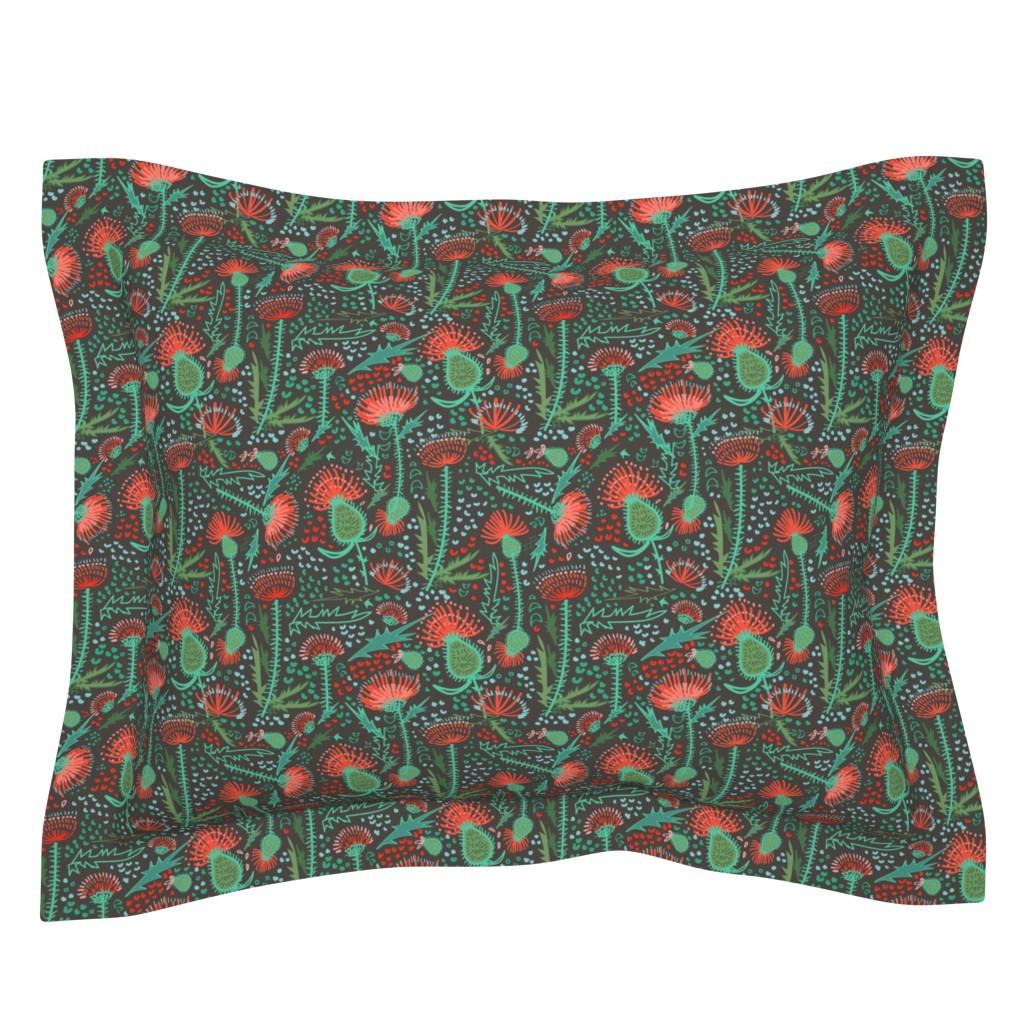 Sebright Pillow Sham featuring Thistle Patch Jade Summer by teresamagnuson