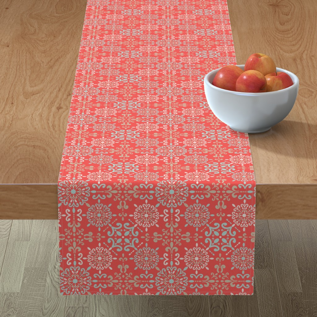 Minorca Table Runner featuring Moroccan Hanky in Coral by teresamagnuson
