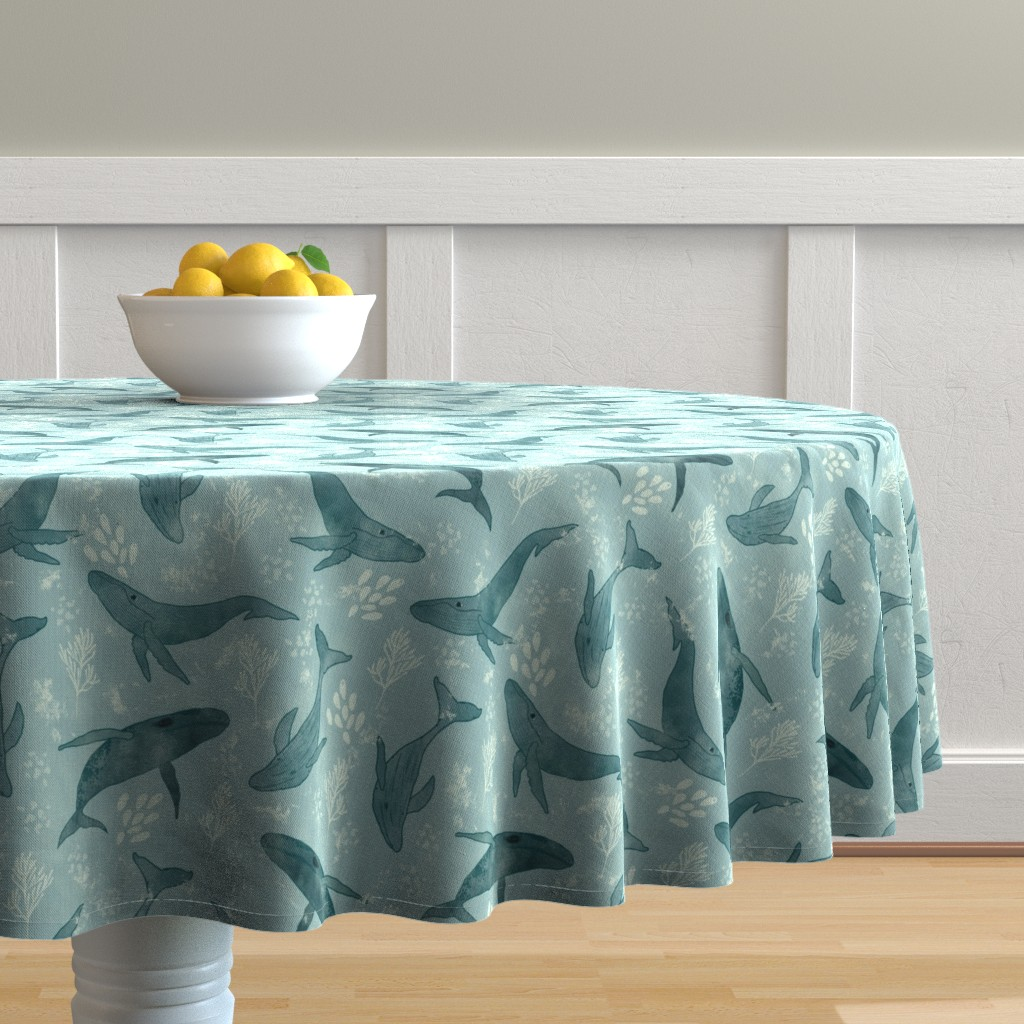 Malay Round Tablecloth featuring Majestic Humpback Whales by melarmstrong