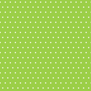 White Polka Dots on Lime