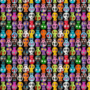 Folk Arty Sugar Skulls - on black - mini