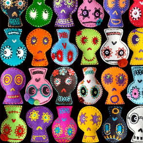 Folk Arty Sugar Skulls - black medium