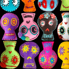 Folk Arty Sugar Skulls - black large