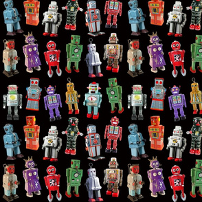 Vintage Toy Robots - small black