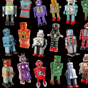 Vintage Toy Robots - medium black