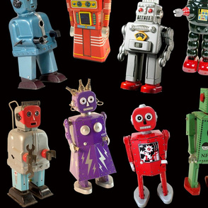 Vintage Toy Robots - large black