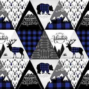 Cheater quilt blue - buffalo adventure - 12 inches repeat