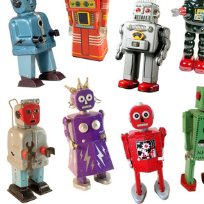 Vintage Toy Robots - large white