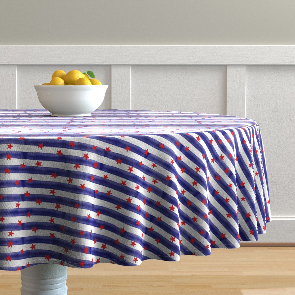 Malay Round Tablecloth featuring stars and stripes (red on blue) by littlearrowdesign