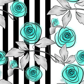 Digital turquoise watercolor roses.