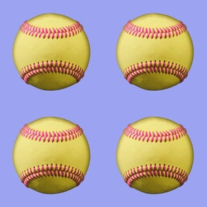 Yellow softballs, pink stitching, on lavender blue