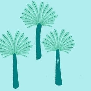 Blue Palms on Khaki