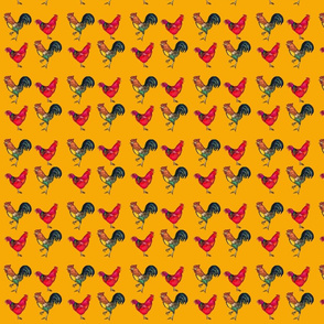 Rooster and Hen in Orange