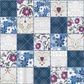 Patchwork Favorite shades of blue .