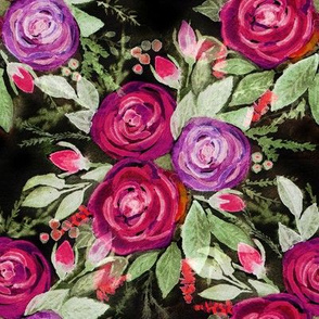 Watercolor roses on a black background