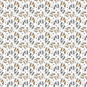 Trotting Japanese Chin and paw prints - tiny white