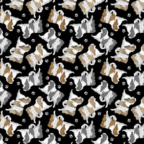 Trotting Japanese Chin and paw prints - black