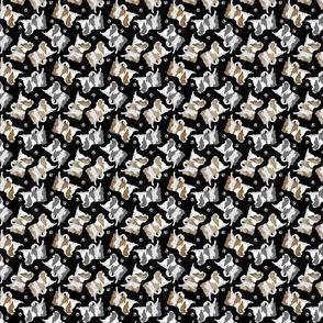 Trotting Japanese Chin and paw prints - tiny black