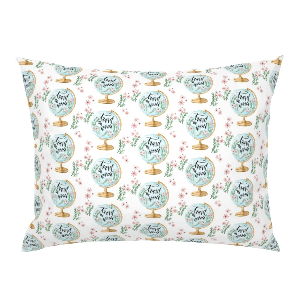 Campine Pillow Sham featuring Travel the World with Flowers and Leaves by hudsondesigncompany