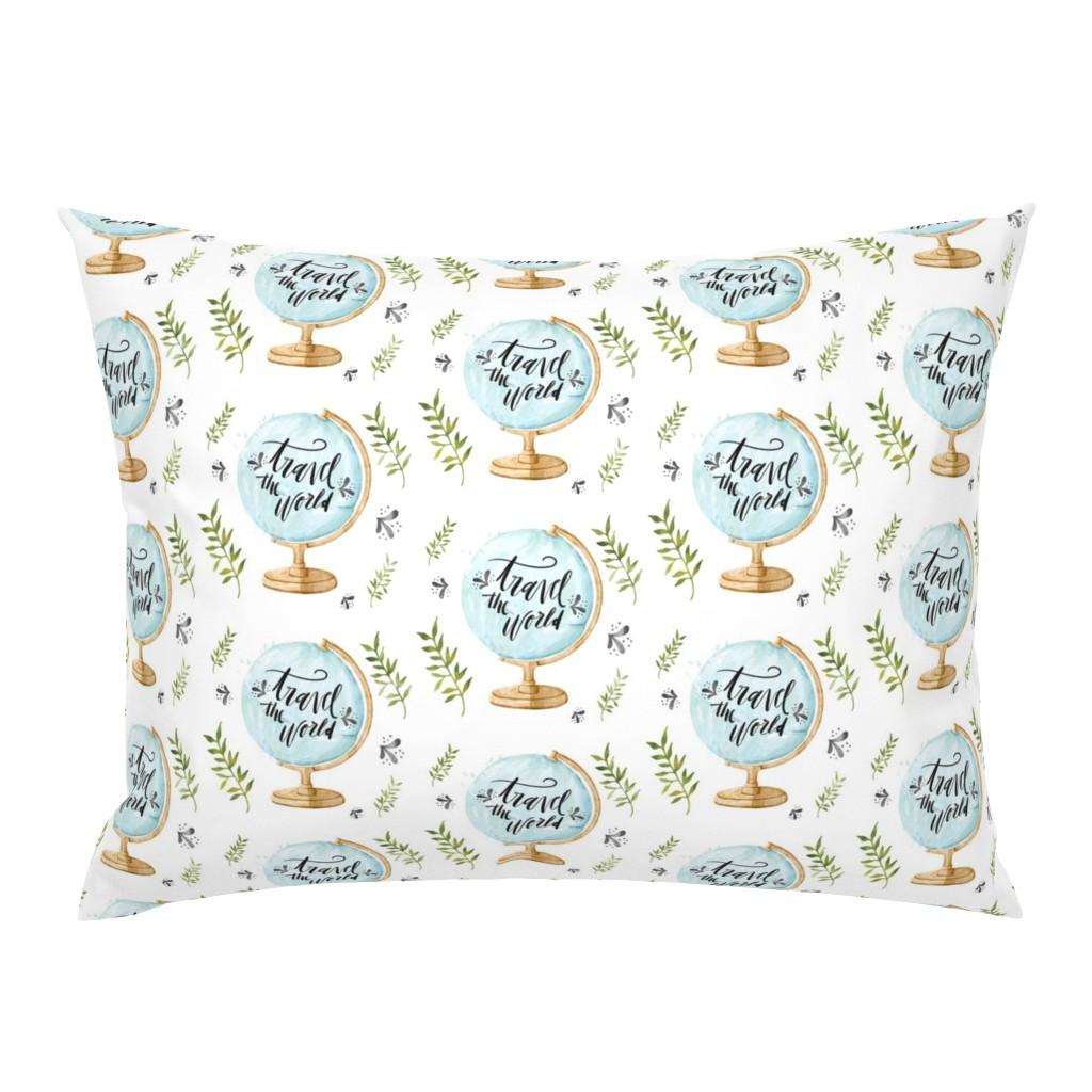Campine Pillow Sham featuring boy-globe by hudsondesigncompany