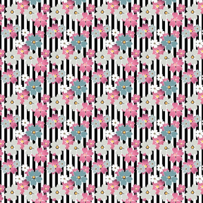 Floral pattern on striped background
