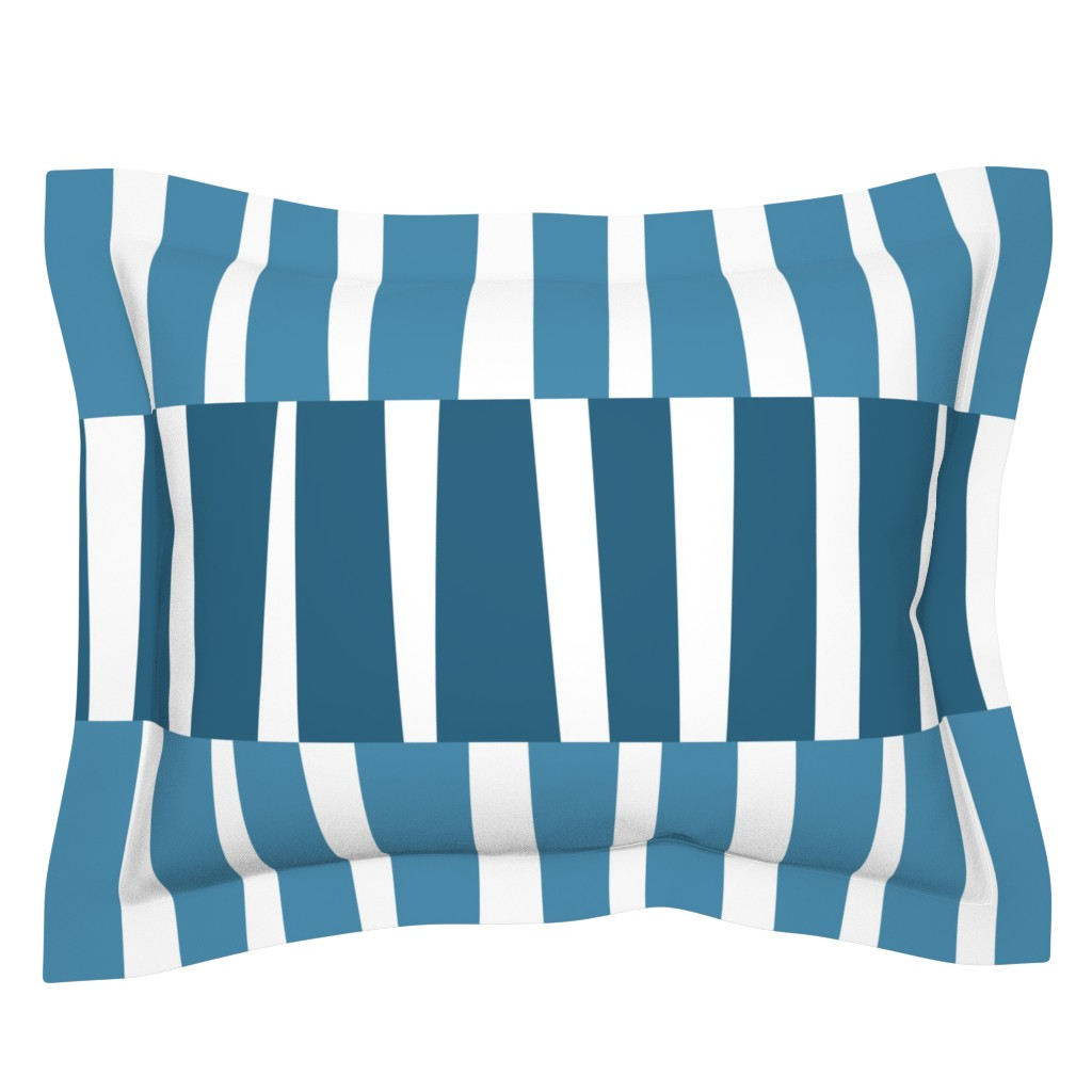 Sebright Pillow Sham featuring Modern Ocean: Stripes (Blue) by rbgcreations