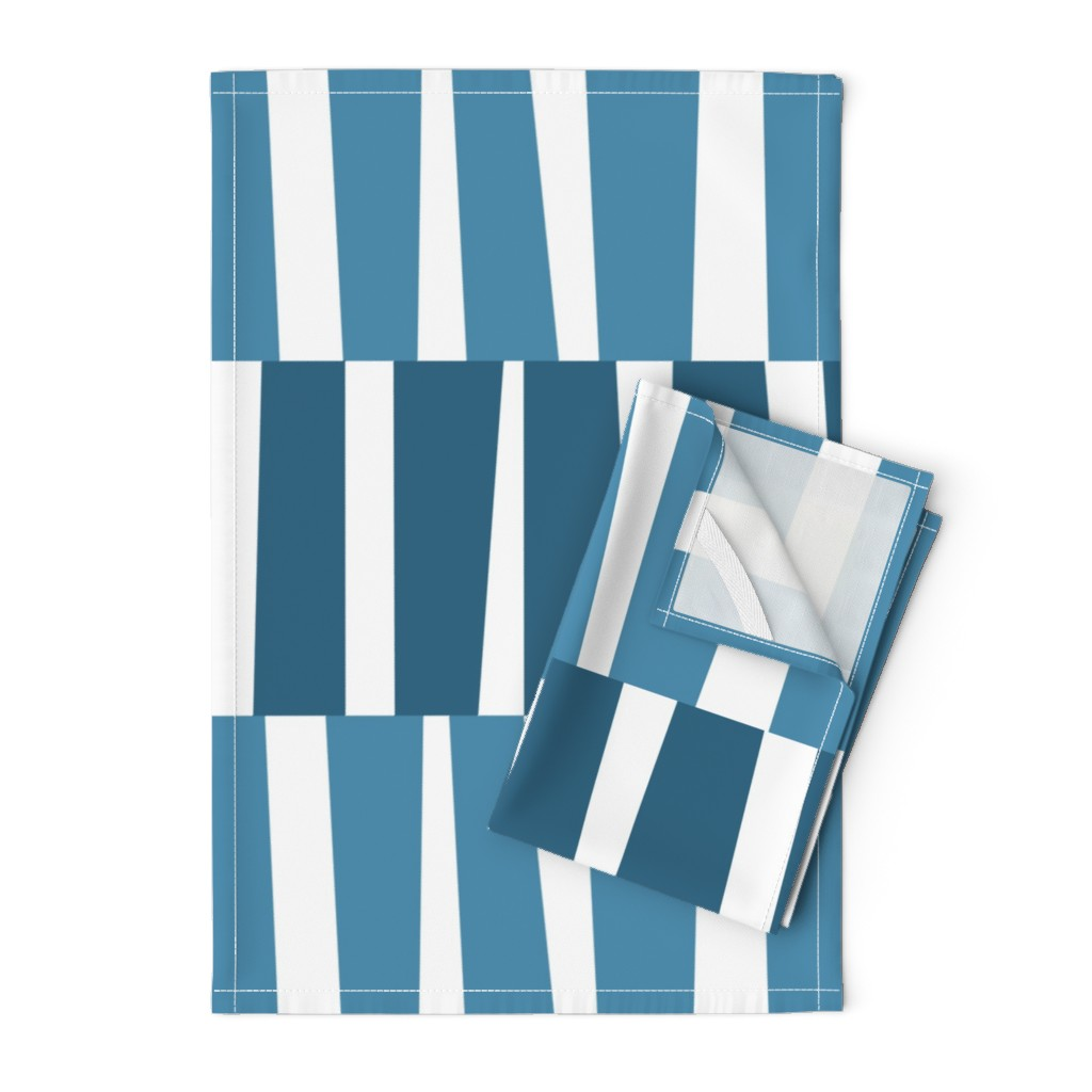 Orpington Tea Towels featuring Modern Ocean: Stripes (Blue) by rbgcreations
