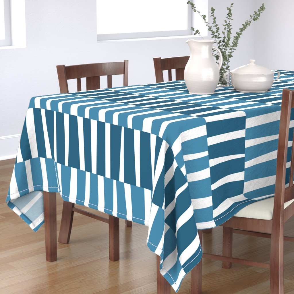 Bantam Rectangular Tablecloth featuring Modern Ocean: Stripes (Blue) by rbgcreations