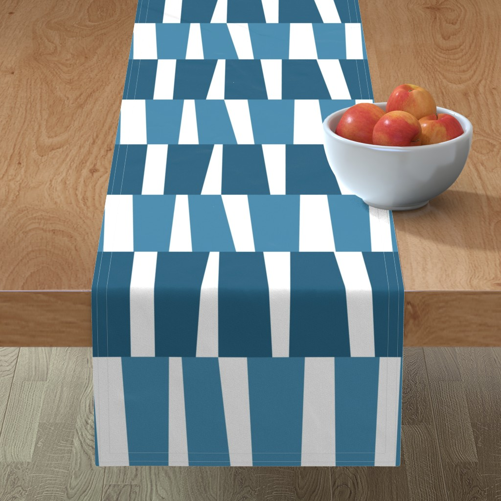 Minorca Table Runner featuring Modern Ocean: Stripes (Blue) by rbgcreations