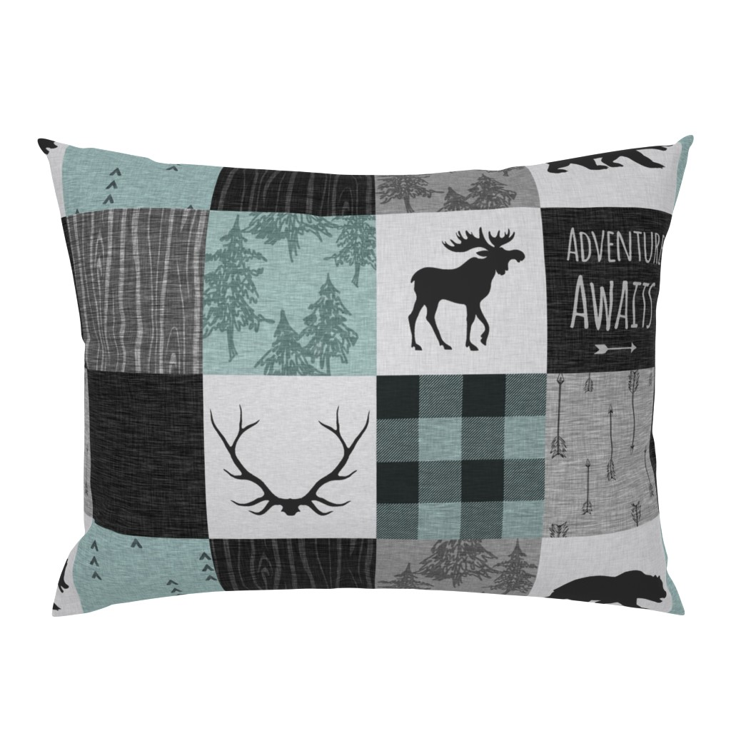 Campine Pillow Sham featuring Adventure Awaits Quilt- Muted Aqua, Black, Grey by sugarpinedesign