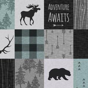 Adventure Awaits Quilt- Muted Aqua, Black, Grey