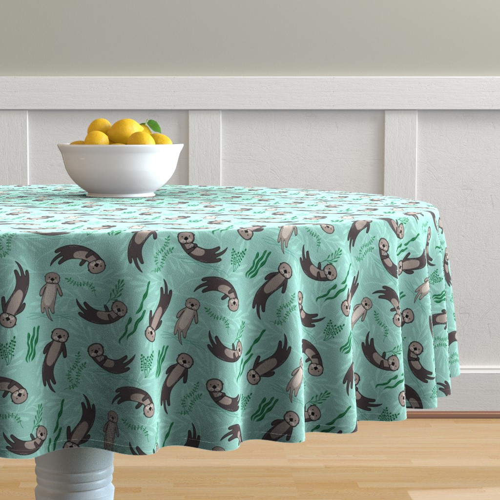 Malay Round Tablecloth featuring Significant Otters by lellobird