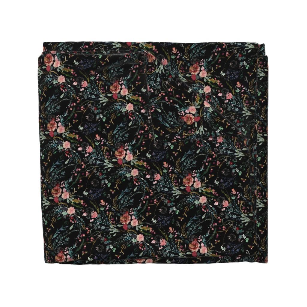 Wyandotte Duvet Cover featuring Fable  Floral (black)  by nouveau_bohemian