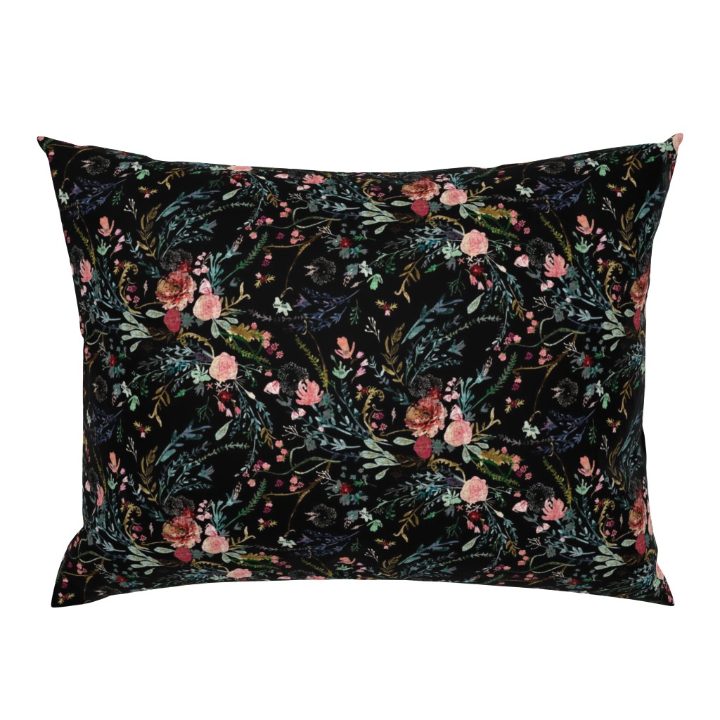 Campine Pillow Sham featuring Fable  Floral (black)  by nouveau_bohemian