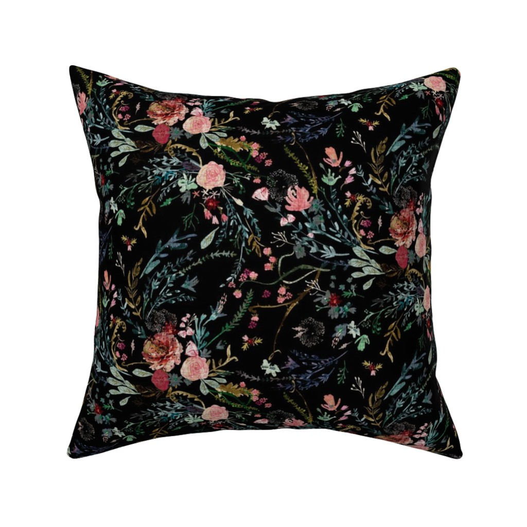 Catalan Throw Pillow featuring Fable  Floral (black)  by nouveau_bohemian