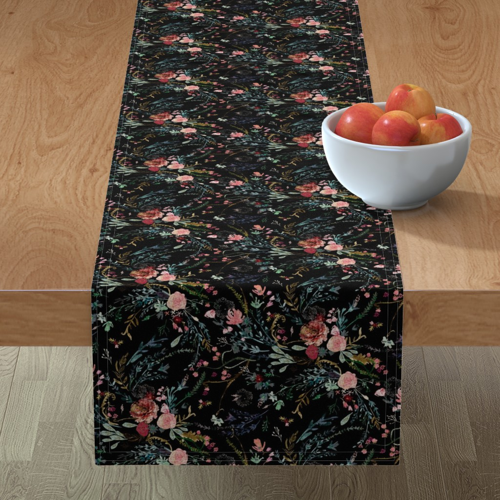 Minorca Table Runner featuring Fable  Floral (black)  by nouveau_bohemian