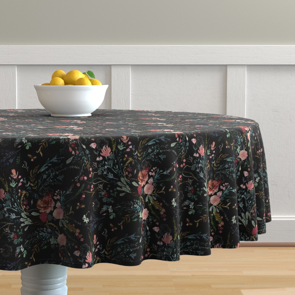 Malay Round Tablecloth featuring Fable  Floral (black) MED  by nouveau_bohemian