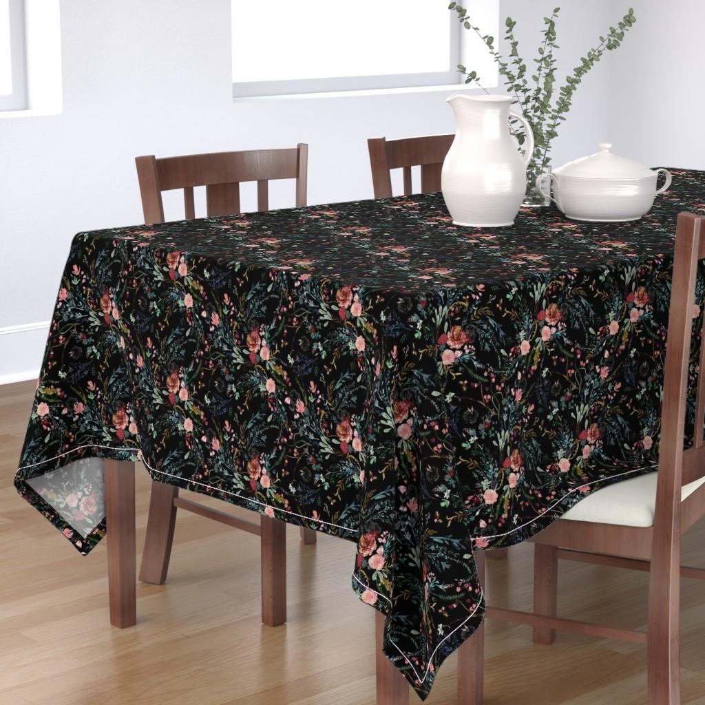 Bantam Rectangular Tablecloth featuring Fable  Floral (black)  by nouveau_bohemian