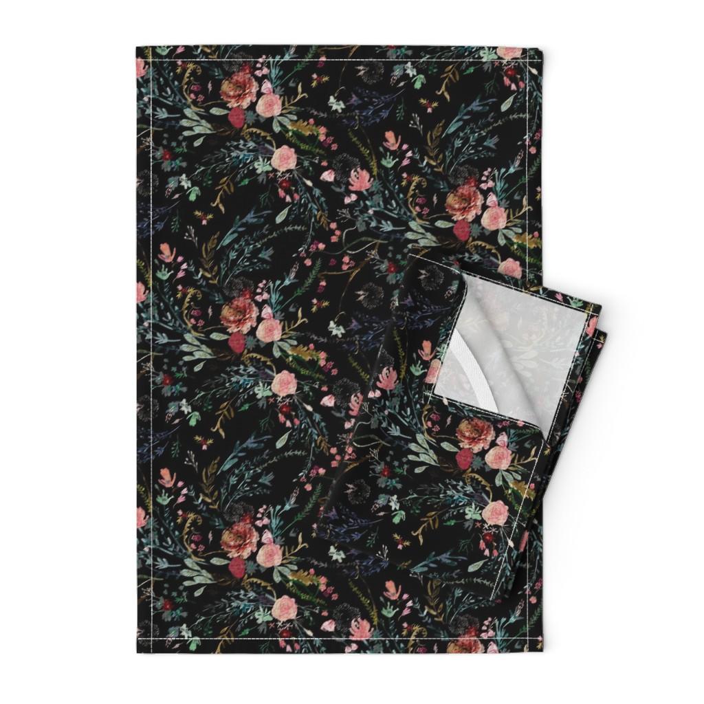 Orpington Tea Towels featuring Fable  Floral (black)  by nouveau_bohemian