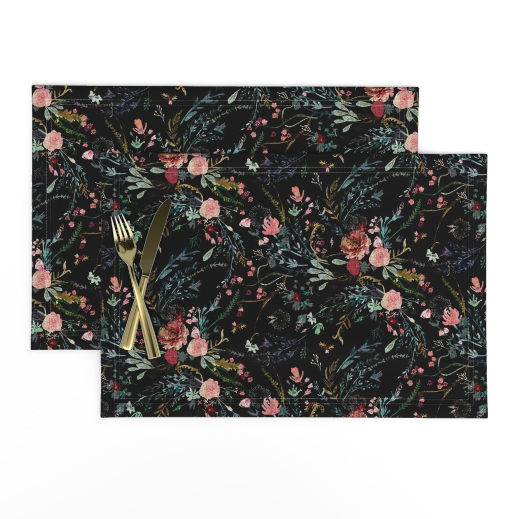 Lamona Cloth Placemats featuring Fable  Floral (black)  by nouveau_bohemian