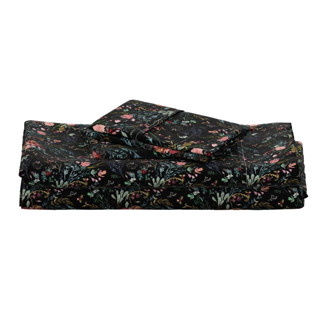 Langshan Full Bed Set featuring Fable  Floral (black)  by nouveau_bohemian