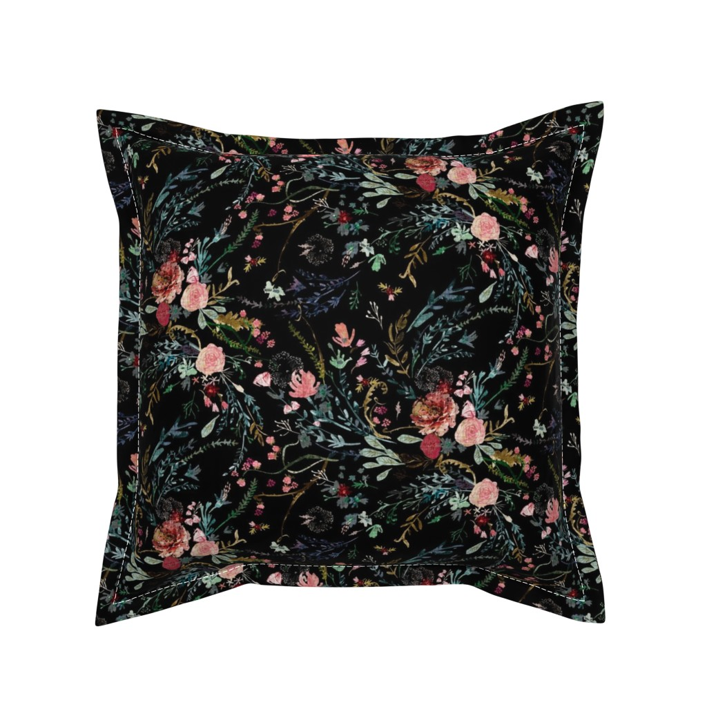 Serama Throw Pillow featuring Fable  Floral (black)  by nouveau_bohemian