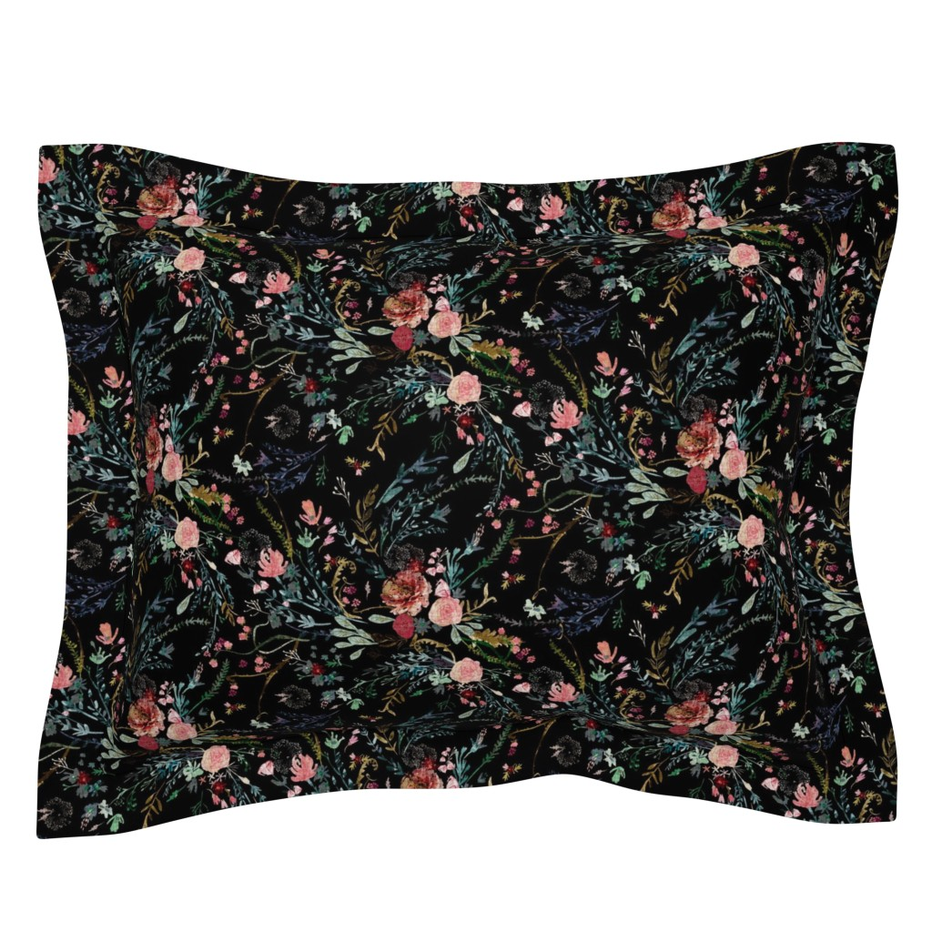 Sebright Pillow Sham featuring Fable  Floral (black)  by nouveau_bohemian