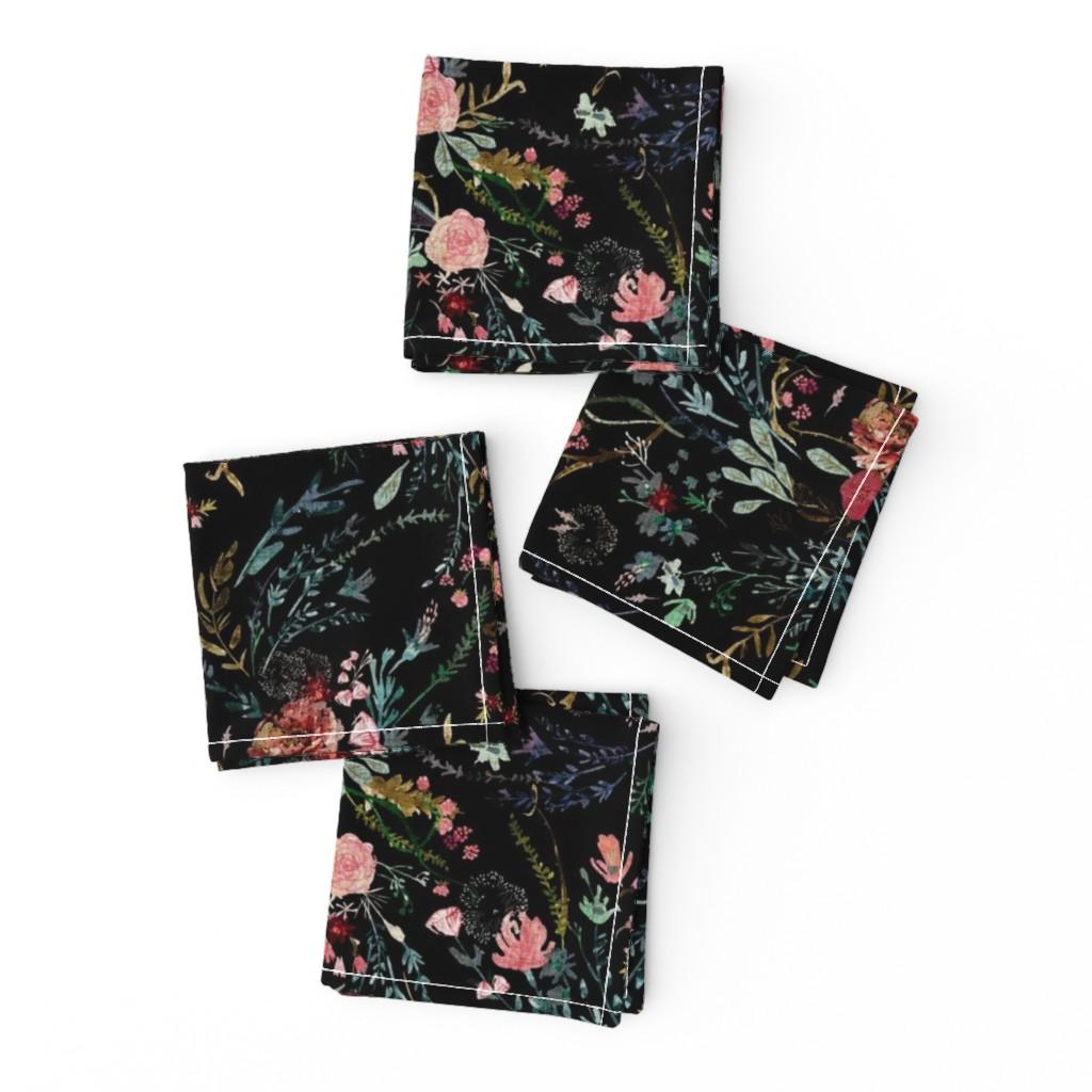 Frizzle Cocktail Napkins featuring Fable  Floral (black)  by nouveau_bohemian