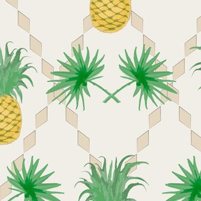 Рineapple and palm leaves pattern in watercolor effect
