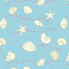 ditsy seashells - sky blue